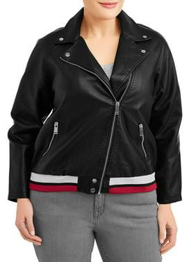 cb357ad80af Product Image Women s Plus Size Dual Stripe Leather Jacket
