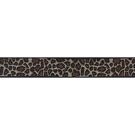 5/8 Inch Leopard Print Jacquard Ribbon Closeout, 3 Yards