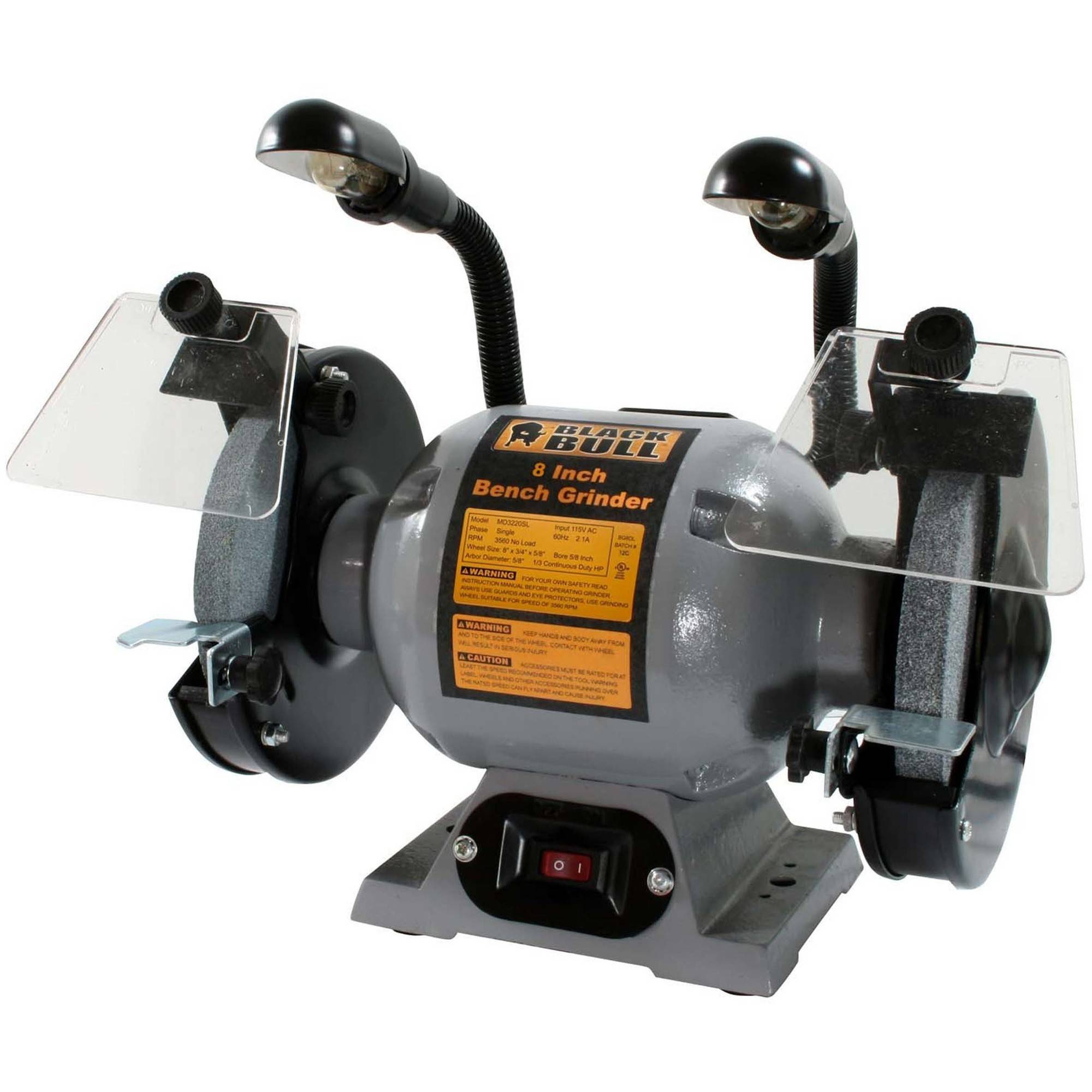 "Black Bull 8"" Bench Grinder with Lights"