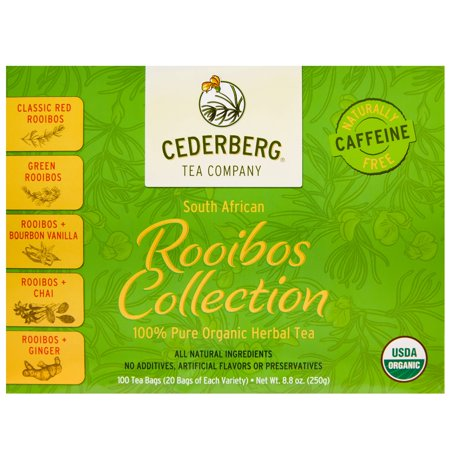Organic Rooibos Herbal Tea Collection - Caffeine Free South African Red Bush Tea - Includes Red, Green, Vanilla, Chai and Ginger Rooibos (100