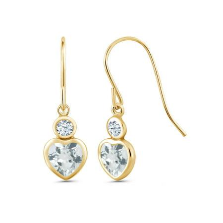 0.98 Ct Heart Shape Sky Blue Aquamarine 14K Yellow Gold Earrings