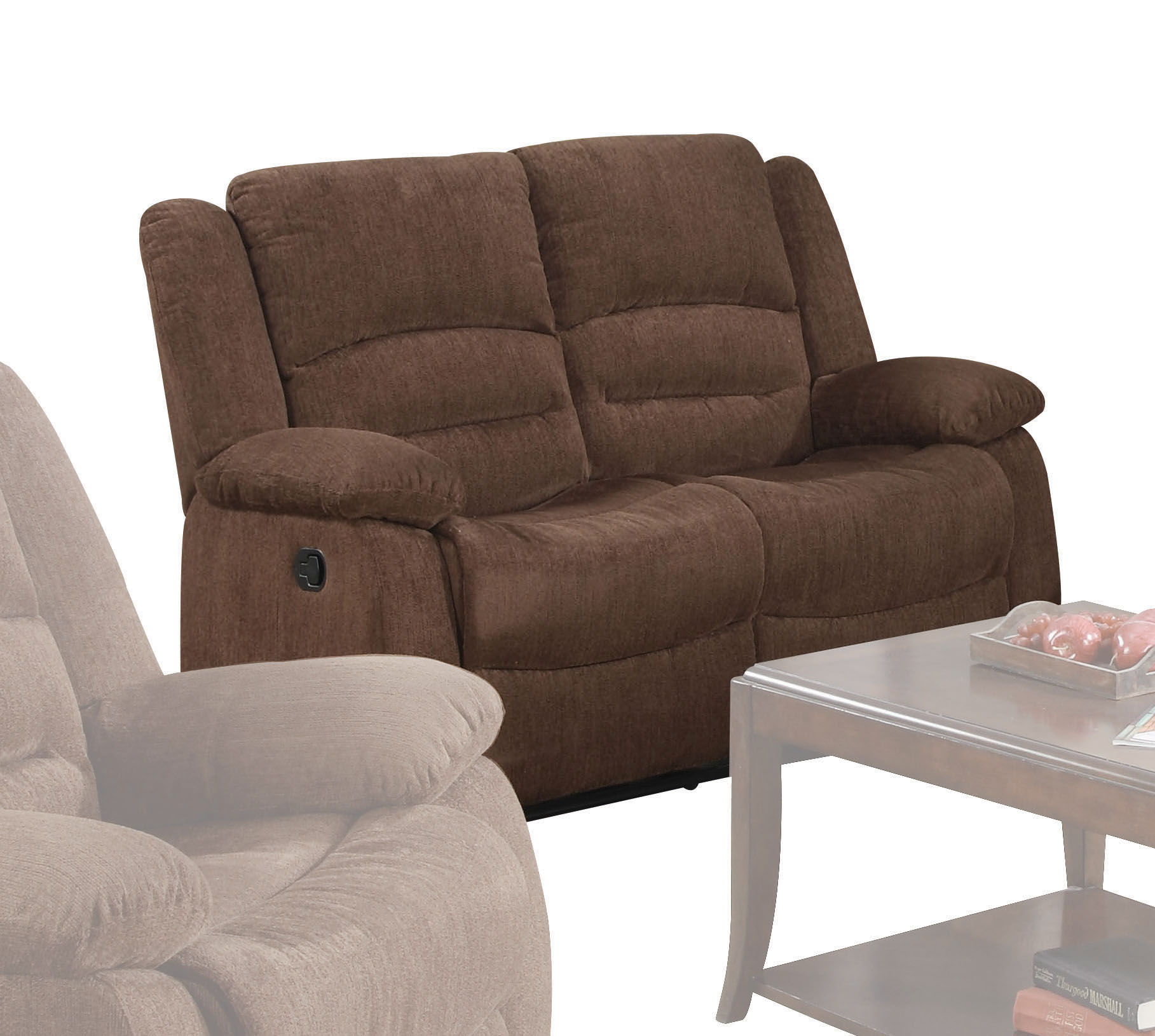 ACME Bailey Reclining Loveseat in Dark Brown Chenille by Acme Furniture