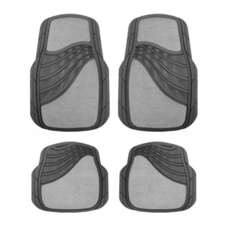 Autocraft Carpet Rubber Floor Mats Gray 4 Pc Set Material
