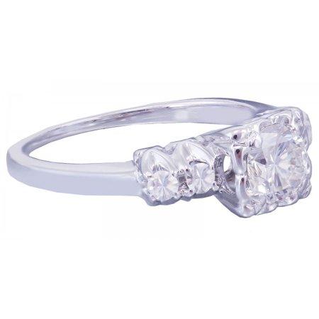 Art Deco Diamond Engagement Ring - 14k White Gold Round Cut Diamond Engagement Ring Art Deco Antique Style 0.52ctw