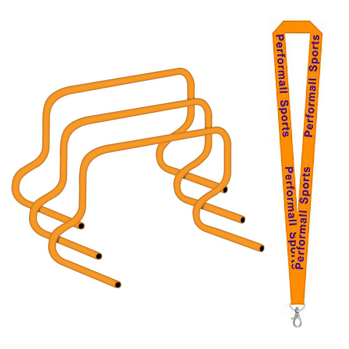 "Champion Sports Bundle: 12"" Speed Hurdle Orange with 1 Performall Lanyard PH12-1P"