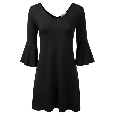 Doublju Womens V-Neck Loose Fit Bell Long Sleeve Tunic Dress With Plus Size BLACK S