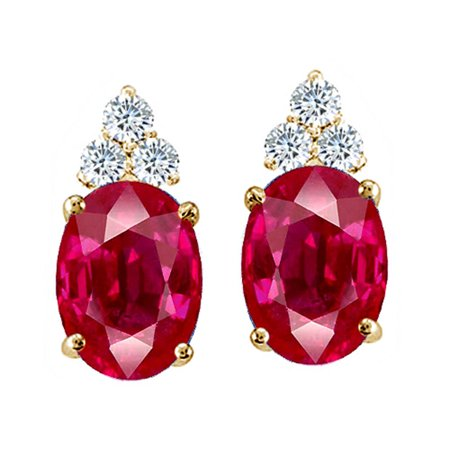 Tommaso Design Oval 8x6mm Created Ruby Earrings Studs