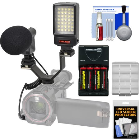 Precision Design Digital Camera / Camcorder LED Video Light with Bracket + Microphone + Bracket + Batteries & Charger Kit for HD Video Camcorders