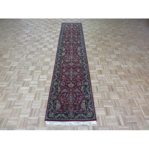 Isabelline One Of A Kind Bearfield Hand Knotted Wool Burgundy Black