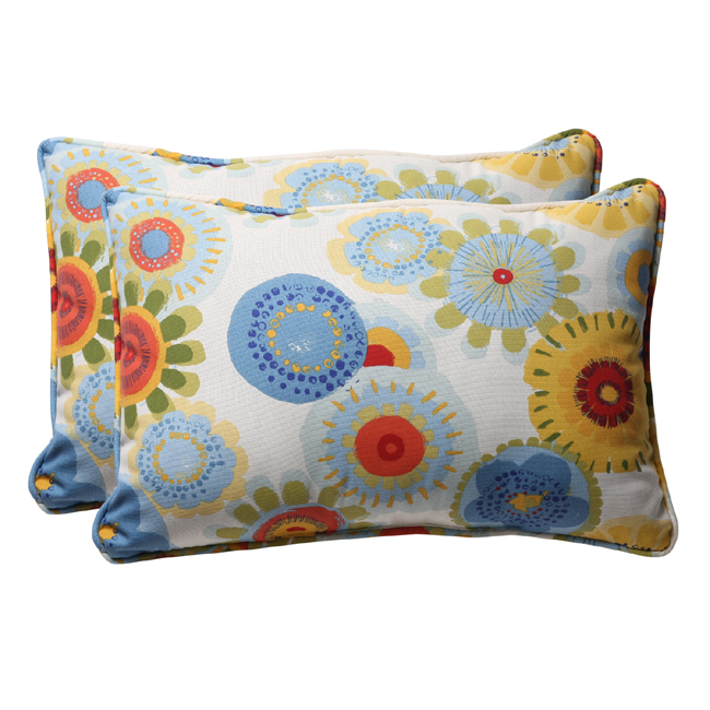 """Pack of 2 Eco-Friendly Blue Multicolored Floral Outdoor Throw Pillows 24.5"""""""