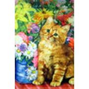 "Cat and Flower Spring Garden Flag Spring Summer Seasonal Decorative 12"" x 18"""