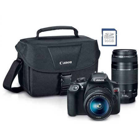 Canon EOS Rebel T6 Digital SLR Camera with 18 Megapixels and 18-55mm, 75-300mm Lenses, Bonus SD card, and WiFi