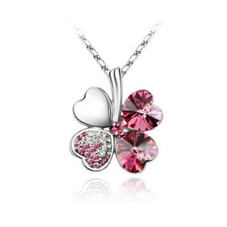 Wrapables® Gold Plated Swarovski Elements Crystal Four Leaf Clover Pendant Necklace, 18 inches, Rose Red Swarovski Crystal Gold Plated Pendant