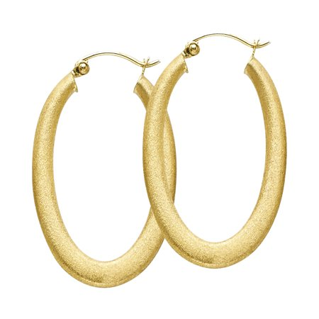 14k Yellow Gold Oval Hoop Earrings Hollow French Lock Fancy Design Sand / Satin Finish 30 x 20 (Yellow Gold Satin Design)
