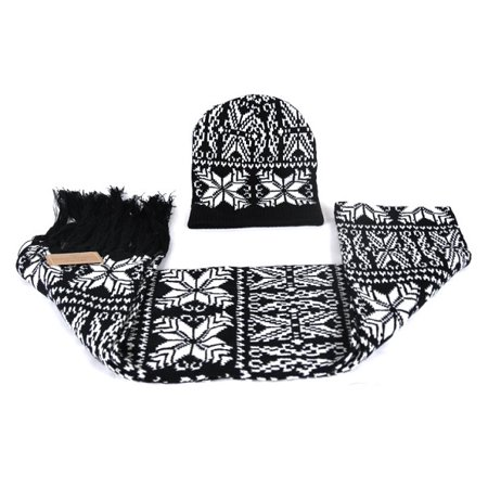Gold Coast Snowflake Winter Hat & Scarf Black