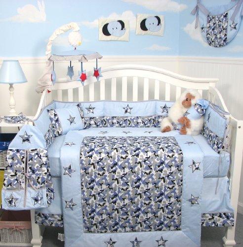 SoHo Modern Blue Camouflage Baby Crib Nursery Bedding Set