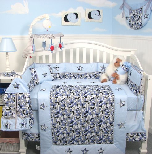 SoHo Modern Blue Camouflage Baby Crib Nursery Bedding Set
