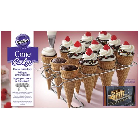 Cupcake Cones Baking Rack, 12-Cavity Ice Cream Cone Cupcakes Holder, Easily bake, decorate and serve cupcakes in sugar or cake ice cream cones using the.., By