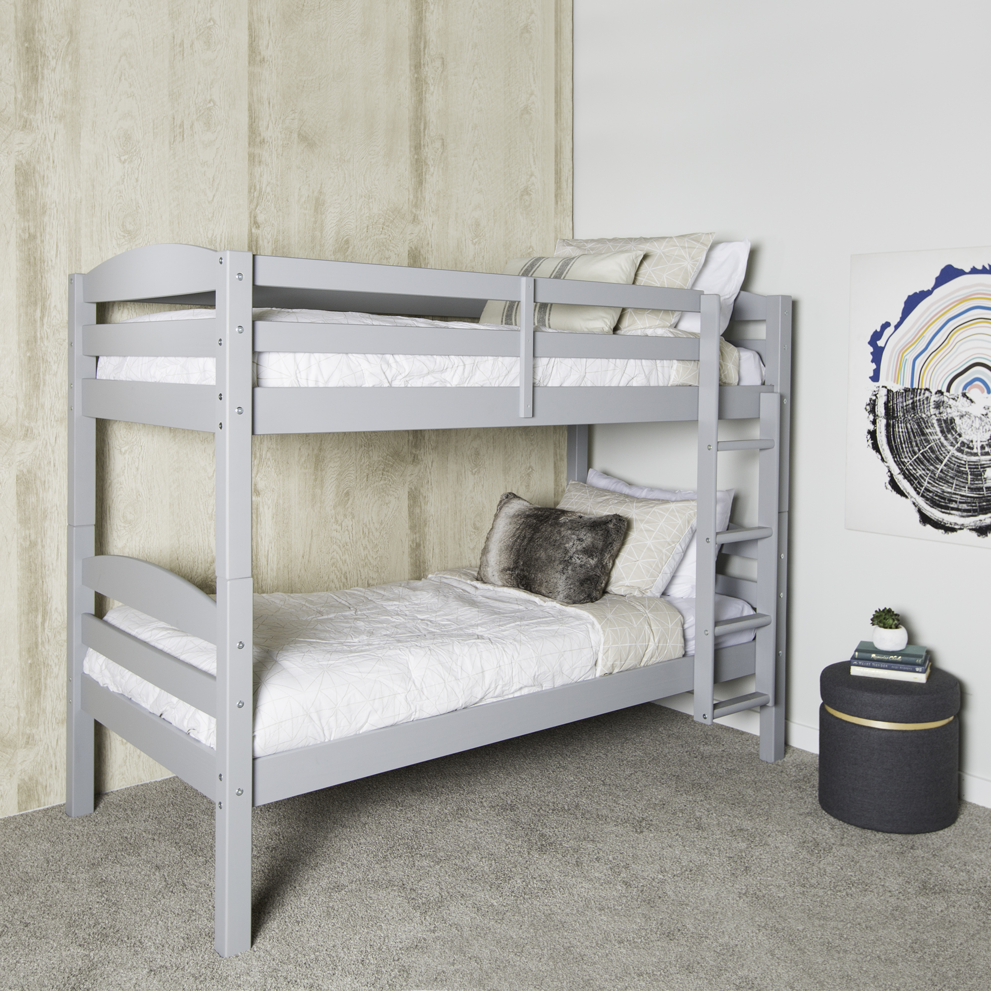 Twin Over Twin Solid Wood Bunk Bed, Black (Multiple Colors Available)
