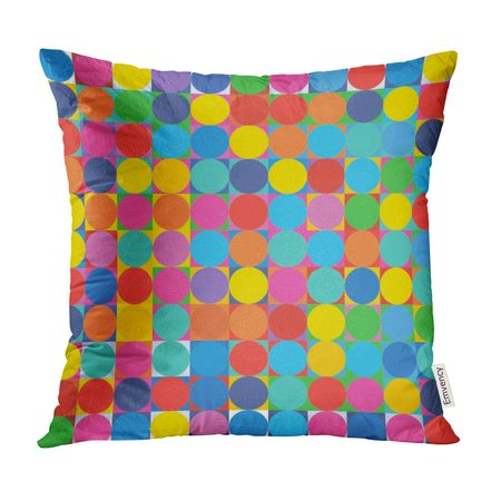 BOSDECO Blue Abstract Multicolor Geometric Pattern Round Pop Colorful Bright Pillow Case Pillow Cover 20x20 inch - image 1 of 1
