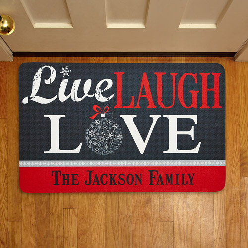 Personalized Live, Laugh, Love Holiday Doormat
