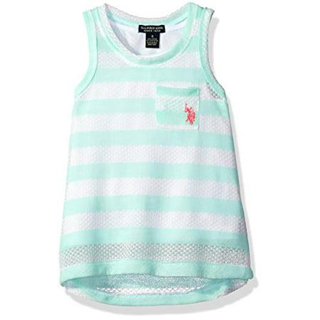 - U.S. Polo Assn.. Little Girls' Hi Lo Hem Texture Knit Sleeveless Pocket T-Shirt, Mint, 5/6