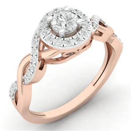 Dazzlingrock Collection 0.50 Carat (ctw) 10K Round Diamond Split Shank Bridal Halo Engagement Ring 1/2 CT, Rose Gold, Size 10