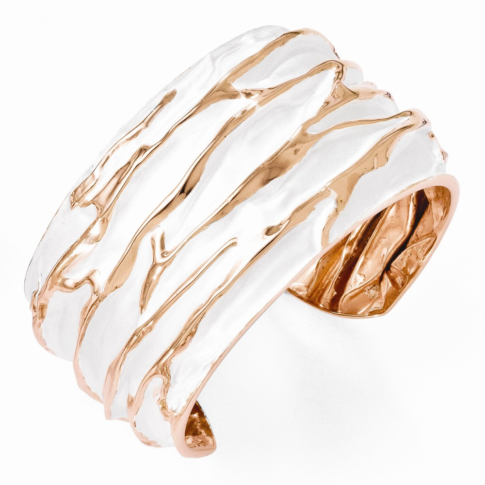 SS 7in 36.5mm Rose Gold-Plated Large Domed Scrunch Bangle