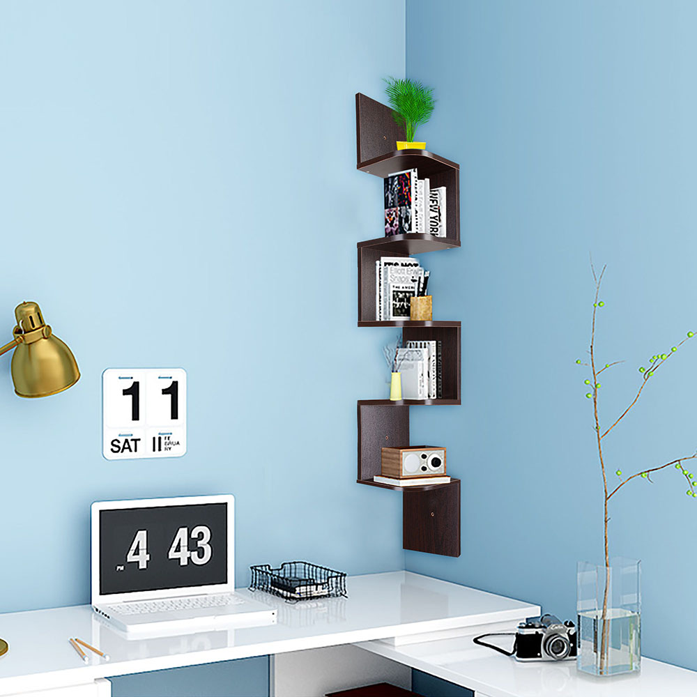 Yescom 5 Tiers Wall Mount Corner Shelf Wood Storage Organizer w ...