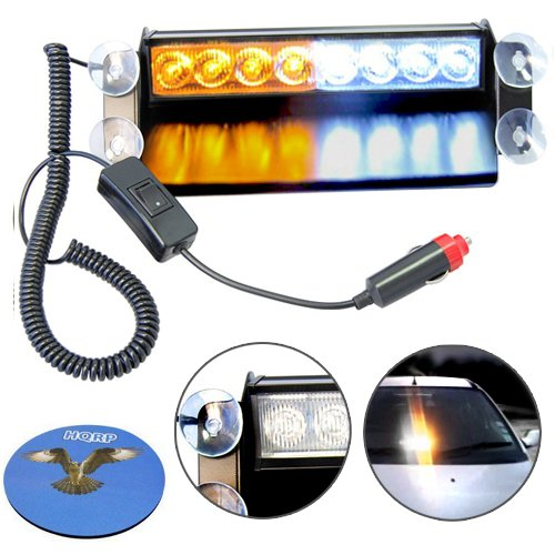 HQRP 8 LED Security Strobe Lights Amber / White Truck Visor Dashboard Warning Emergency Lamp plus HQRP Coaster