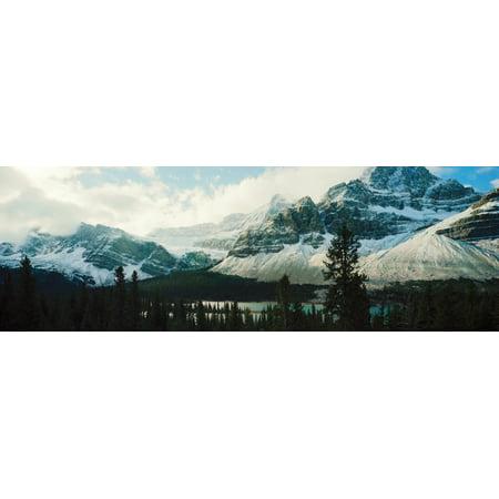 Mountain range at the lakeside Crowfoot Glacier Banff National Park Alberta Canada Canvas Art - Panoramic Images (6 x