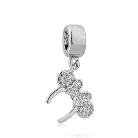 Minnie Mouse Ears Headband silver plated charm european compatible spacer bead