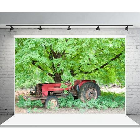 GreenDecor Polyster 7x5ft Rustic Backdrop Countryside Photography Background Shabby Tractor Green Tree Man Cowboy Adult Artistic Portrait Farm Barn Photo Shoot Studio Props Video Drop Drape](Farm Backdrop)