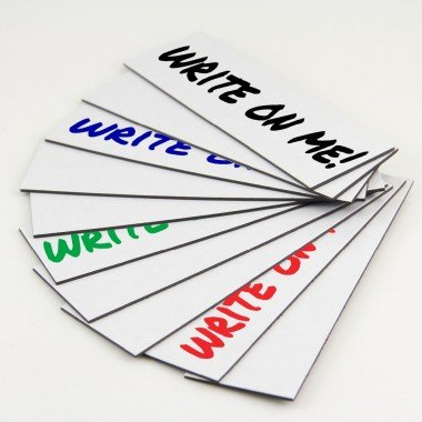 "25 Dry Erase Magnetic Shelf Label Magnets 1"" x 2"" White"