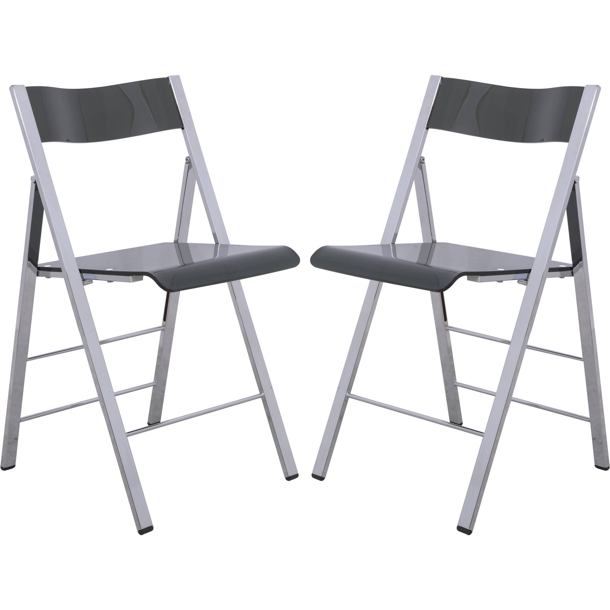 LeisureMod Menno Modern Acrylic Folding Chair in Transparent Black, Set of 2