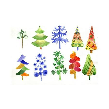 Christmas Tree Watercolor Print Wall Art By Irynapotapenko