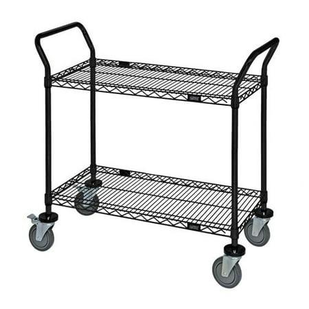 18 Deep x 54 Wide x 39 High 2 Tier Heavy Duty Black Wire Utility Cart