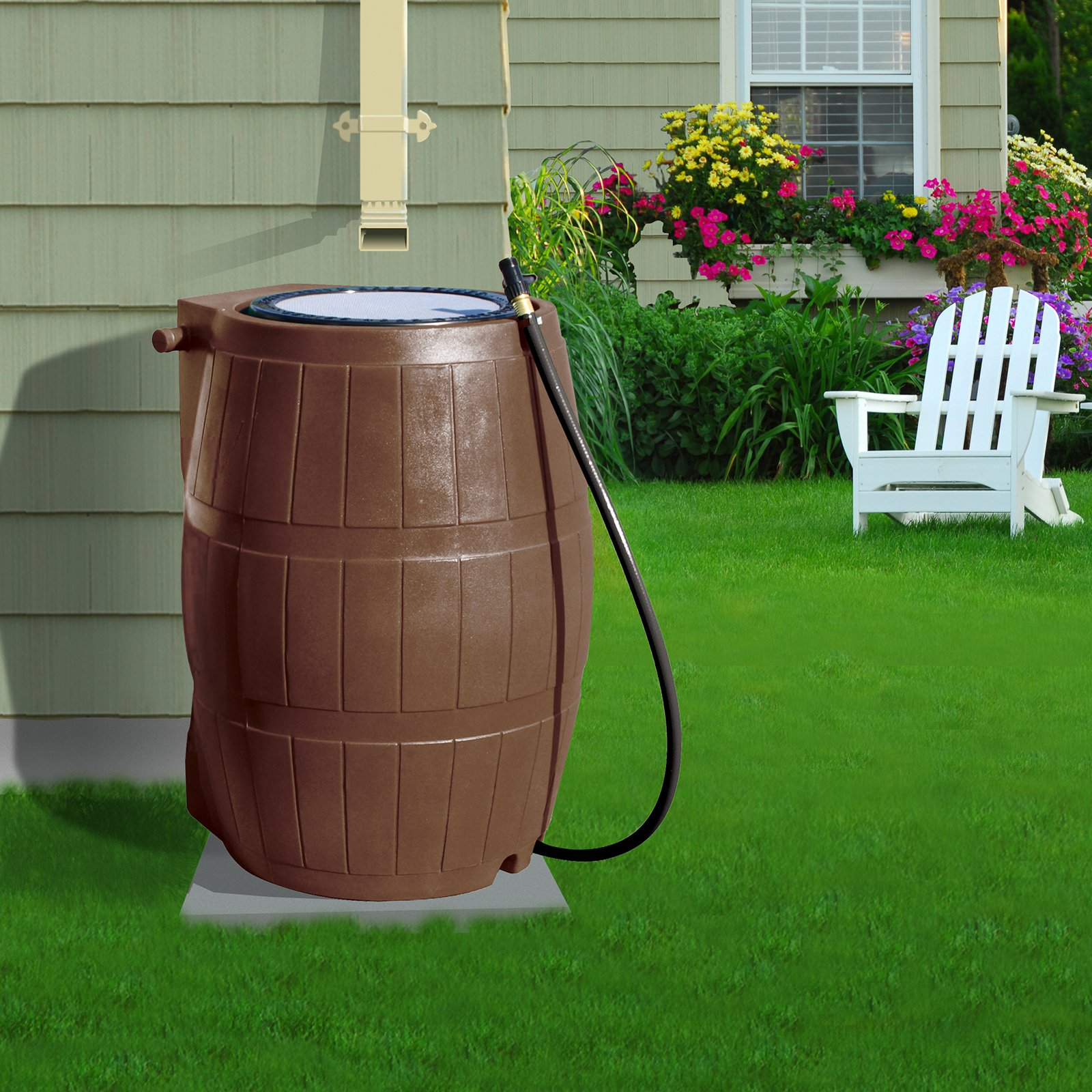 Yimby Flat Back Rain Barrel - 50 Gallon - Brown