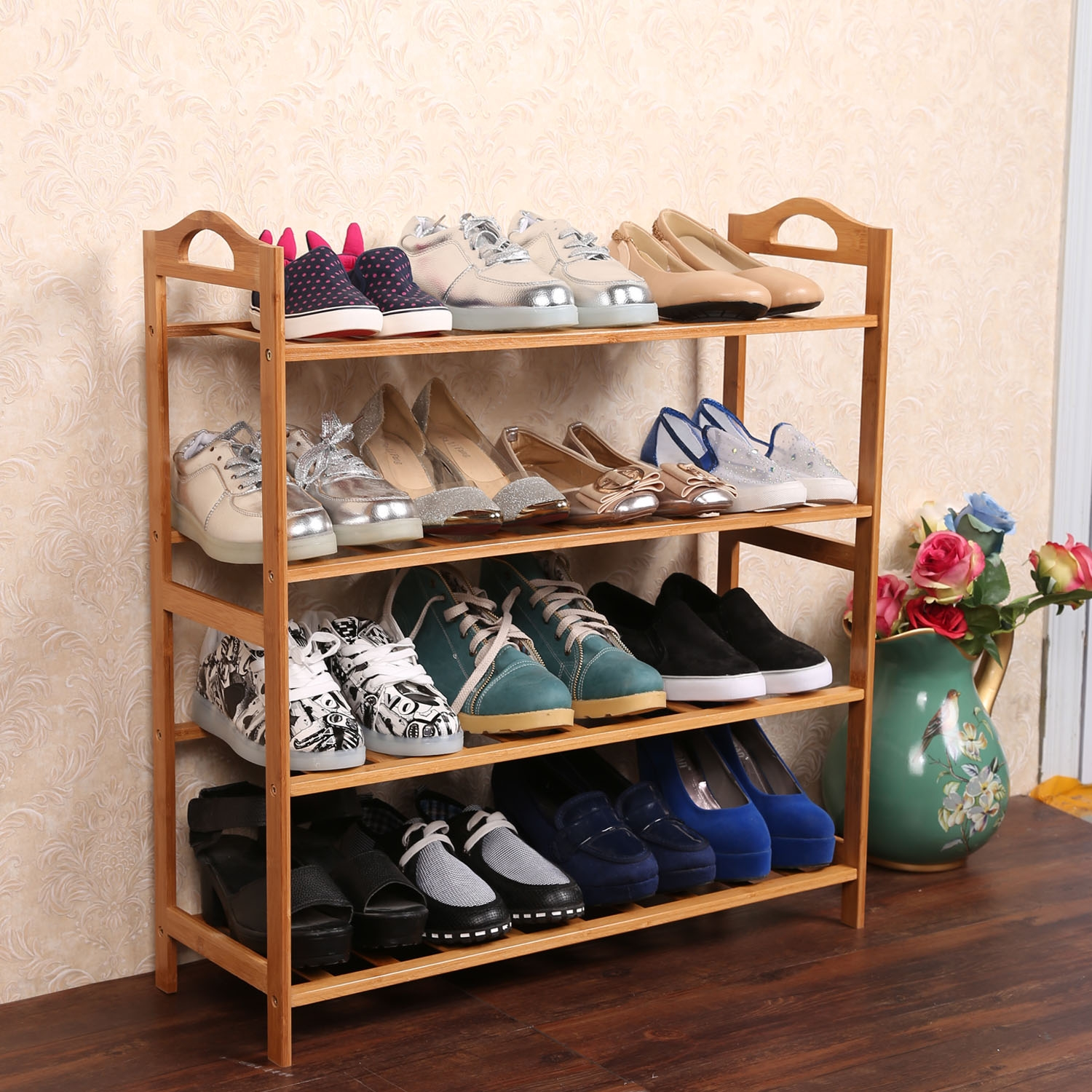 4 Tiers Shoe Rack Storage Organizer Natural Bamboo Plant Shelf, Home Storage Shelf for Shoes, Books and Flowerpots (Burlywood)