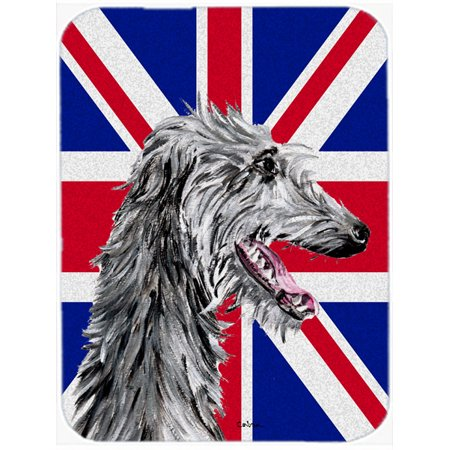 Scottish Deerhound with English Union Jack British Flag Mouse Pad, Hot Pad or Trivet SC9871MP