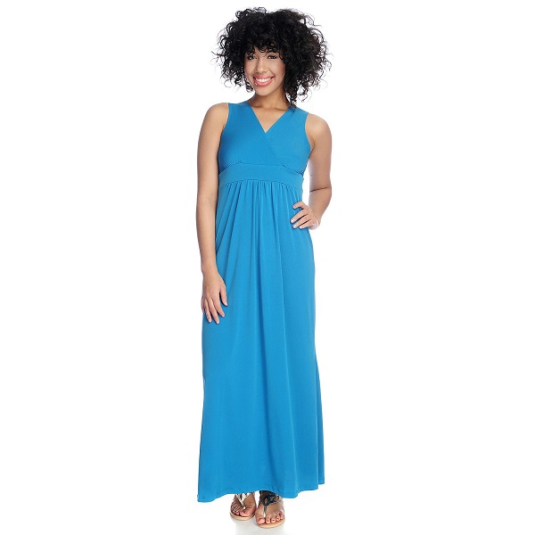 Kate Mallory Women S Stretch Knit Crossover Front Maxi Dress In