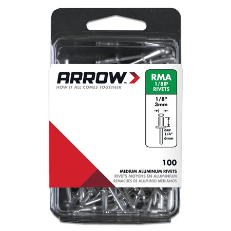 RMA1/8IP Medium Aluminum 1/8-Inch Rivets, 100-Pack, Ideal for use on a variety of materials By ARROW FASTENER
