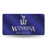 Winona State Warriors NCAA Purple Mirrored Laser Cut License Plate Laser Tag