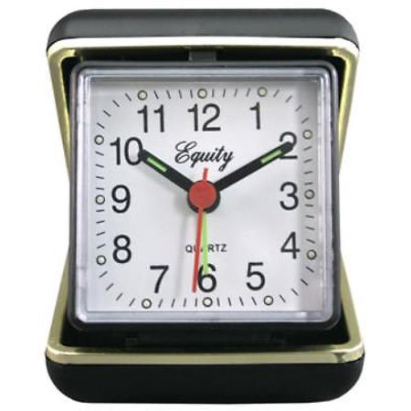 NEW Advance Black Case Quartz Analog Clamshell Travel Alarm Clock