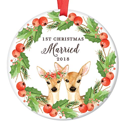 "Deer Christmas Ornament 2018, 1st Christmas Married Xmas Present for Husband & Wife First Stag Mr Mrs Floral Wreath Ceramic Porcelain Keepsake 3"" Flat Circle with Red Ribbon & Free Gift Box 