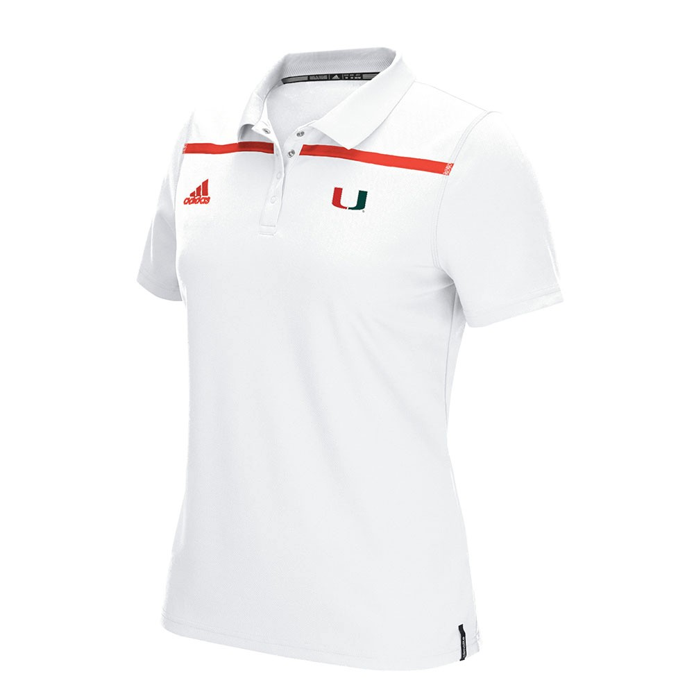 Miami Hurricanes NCAA Adidas Women White Sideline Performance Climacool Primary Logo Shirt by Adidas