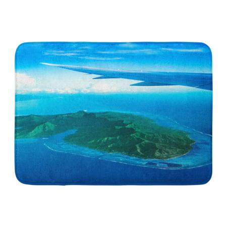 GODPOK View from Plane Window Flying Over Moorea Island Tahiti French Polynesia Exotic Luxury Vacation Flight Rug Doormat Bath Mat 23.6x15.7 inch