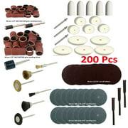 "MTP ® 200 Pcs Rotary Power Tool Accessory Kits Set Suit for Dremel 3000 4000 8220-2/28 395 7700-1/15 4000 3/34  Milwaukeen Nextec 1/8"" Shank Hobby Clean Polish Sanding Drum  Cutting 401 402 411 413"
