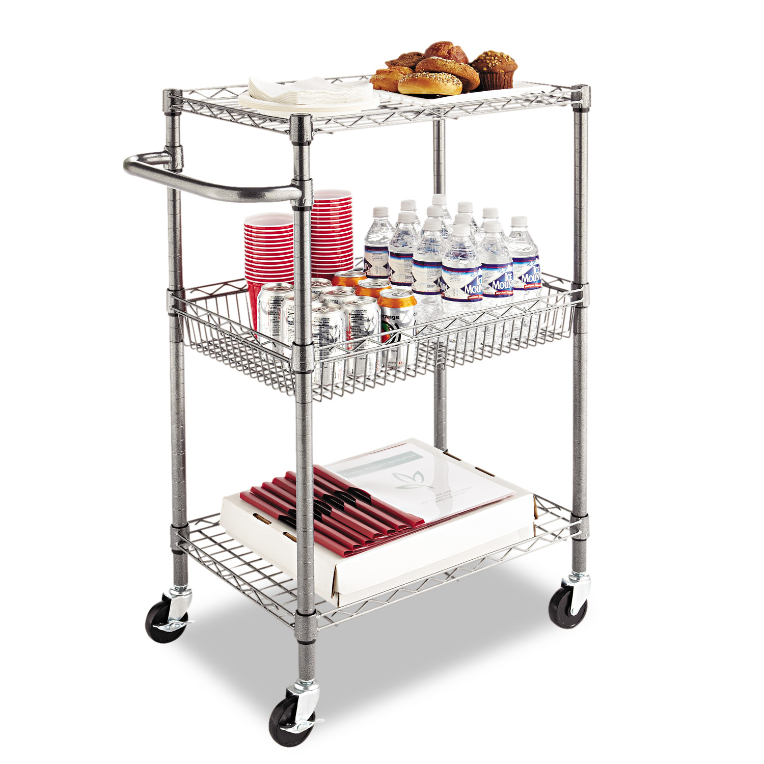 Alera Three Tier Wire Rolling Cart 28w x 16d x 39h Black