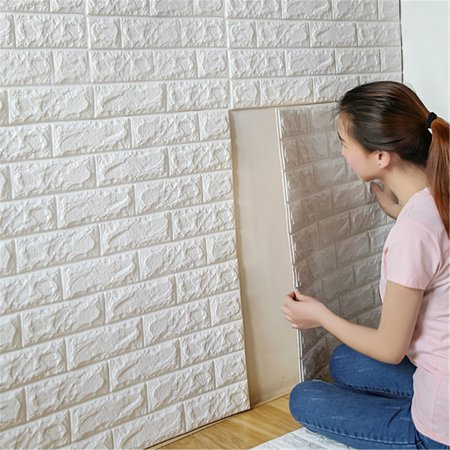 11.9''x 24'' 3D Brick Effect Wall Stickers Self-adhesive Wall Panel Decal DIY PE Foam Plate Embossed Stone Wallpaper for TV Walls, Sofa Background Home Decor (Wallpapers Halloween 3d Gratis)